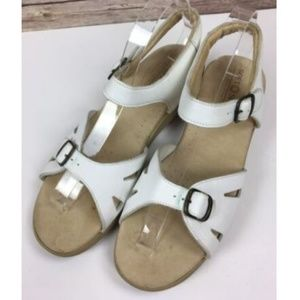 Softspots Sandals White Leather Strap Comfort